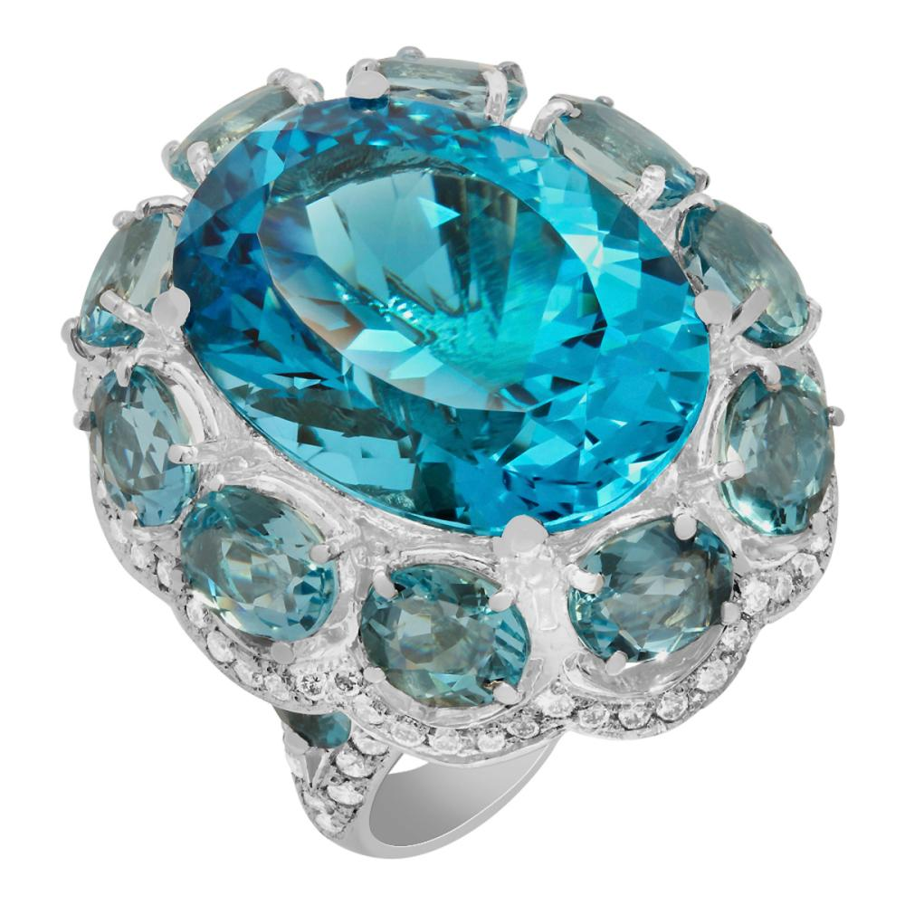 14k White Gold 25.62ct Blue Topaz 14.13ct Aquamarine 2.25ct Diamond Ring