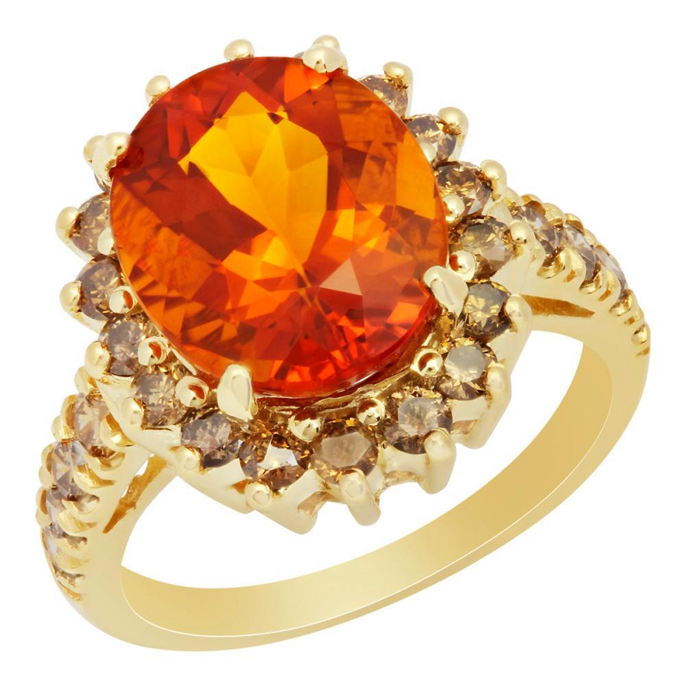 14k Yellow Gold 4.68ct Citrine 1.15ct Diamond Ring