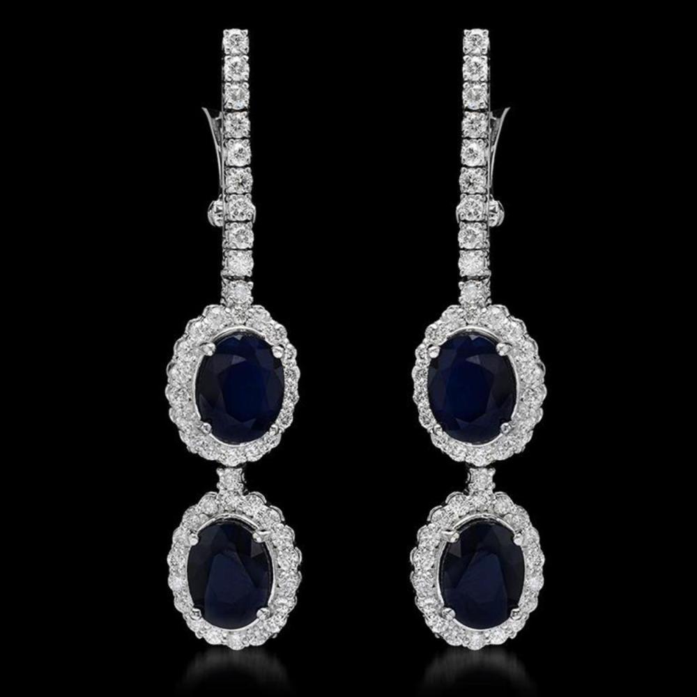 14K Gold 7.17ct Sapphire 2.00ct Diamond Earrings