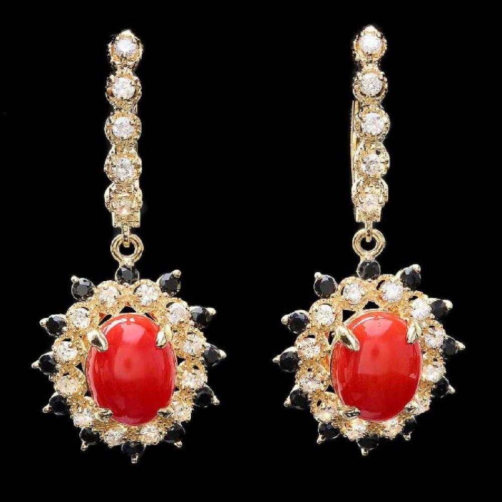 14K Yellow Gold 4.86ct Coral 0.94ct Sapphire and 0.77ct Diamond Earrings