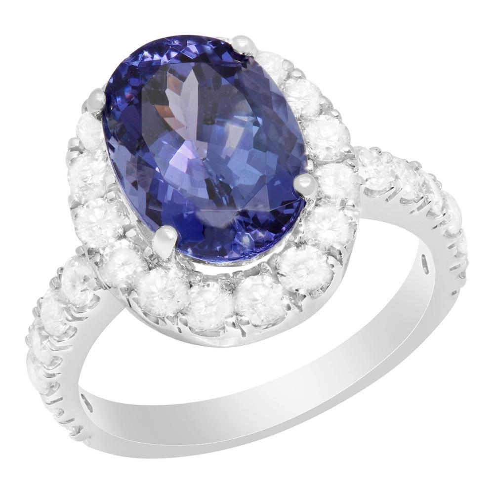 14k White Gold 4.95ct Tanzanite 1.45ct Diamond Ring