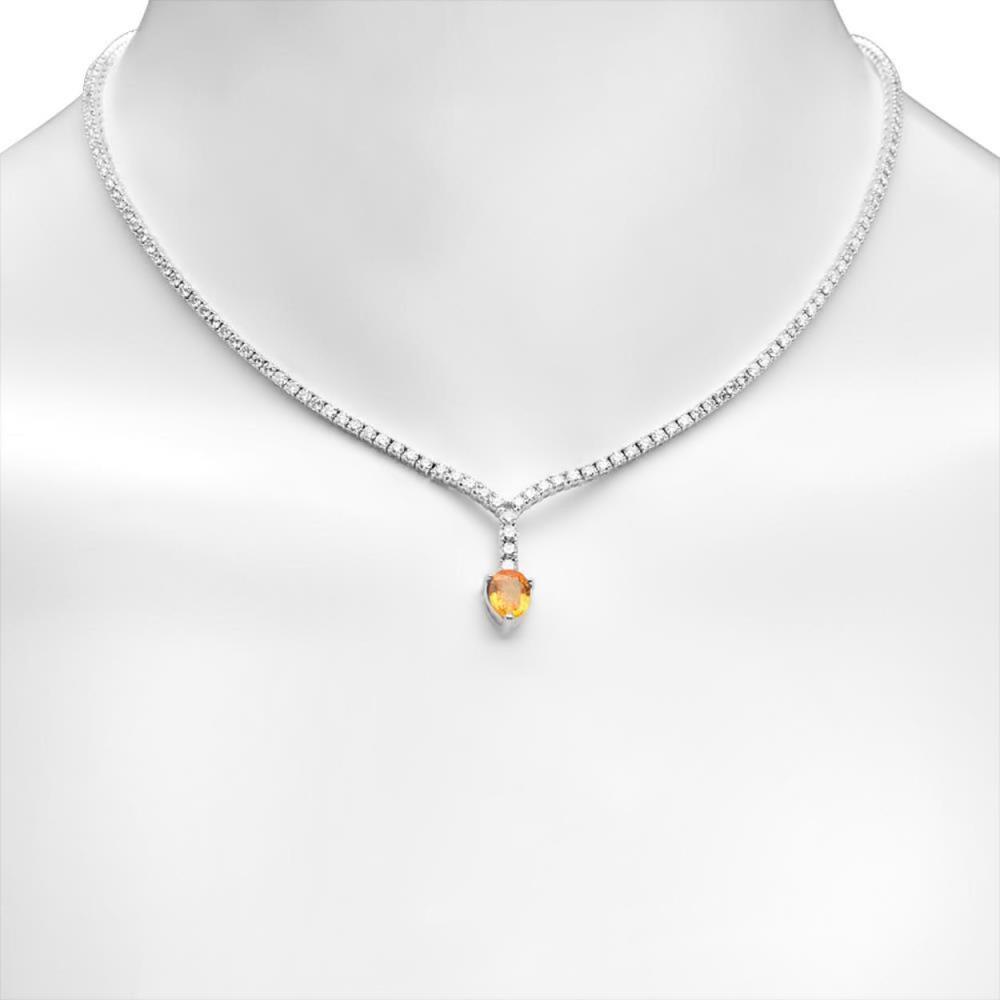 14K Gold 1.51ct Orange Sapphire 4.13cts Diamond Necklace