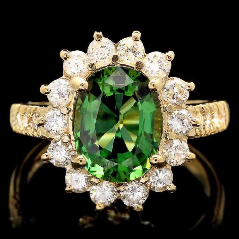 14K Yellow Gold 2.11ct Tourmaline and 1.04ct Diamond Ring