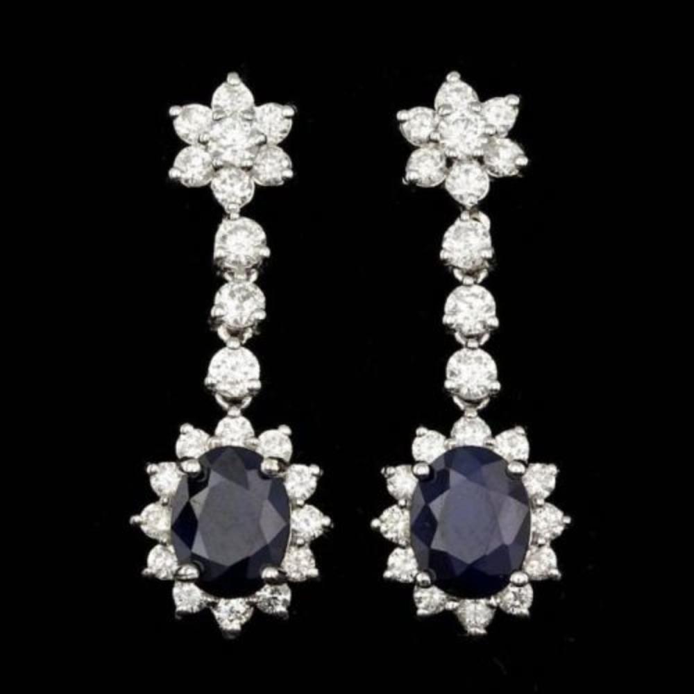 14k Gold 4.74ct Sapphire 2.37ct Diamond Earrings