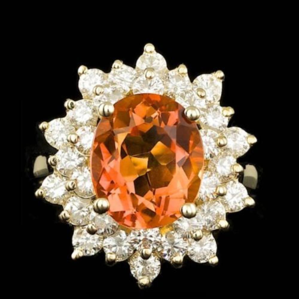 14K Yellow Gold 3.58ct Citrine and 1.93ct Diamond Ring