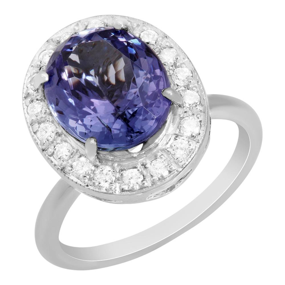 14k White Gold 5.03ct Tanzanite 0.42ct Diamond Ring