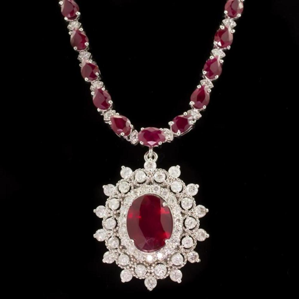 14k White Gold 28.02ct Ruby 3.19ct Diamond Necklace