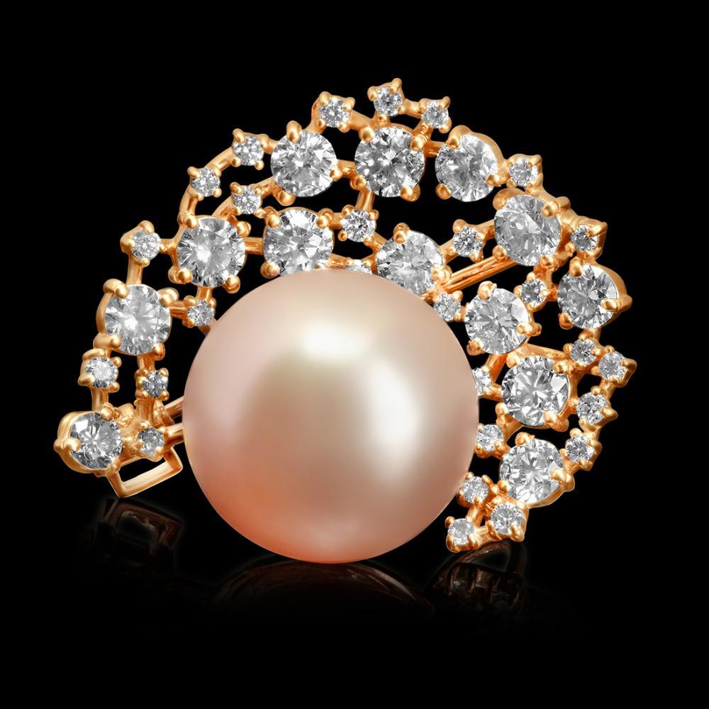 14k Rose Gold 15mm South Sea Pearl 2.20ct Diamond Brooch