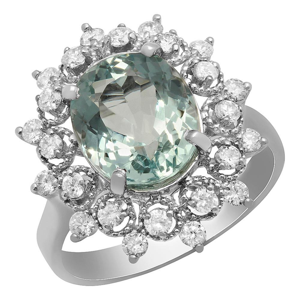 14k White Gold 3.33ct Aquamarine 0.67ct Diamond Ring