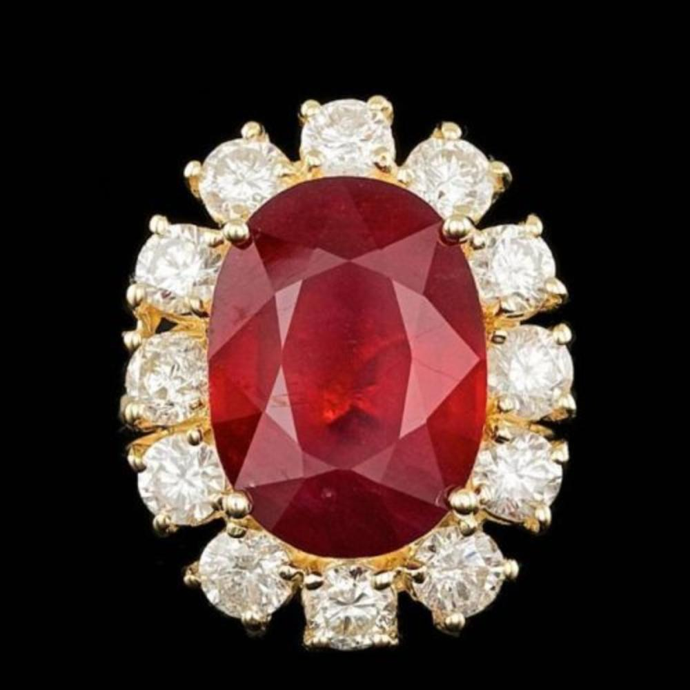 14K Yellow Gold 11.84ct Ruby and 2.42ct Diamond Ring