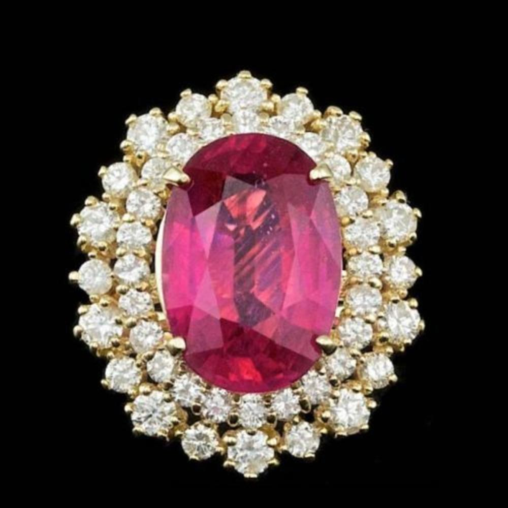 14K Yellow Gold 6.82ct Ruby and 1.51ct Diamond Ring