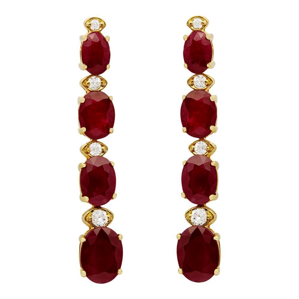 14k Yellow Gold 8.64ct Ruby 0.28ct Diamond Earrings