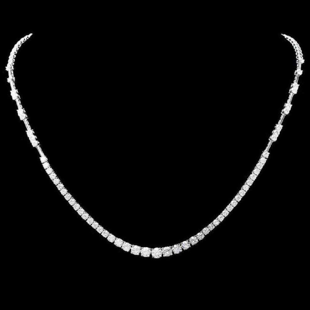 18K White Gold and 5.92ct Diamond Necklace