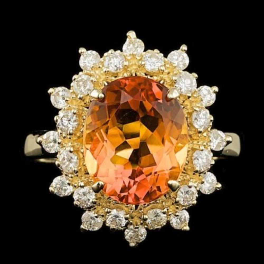 14K Yellow Gold 3.14ct Citrine and 0.64ct Diamond Ring