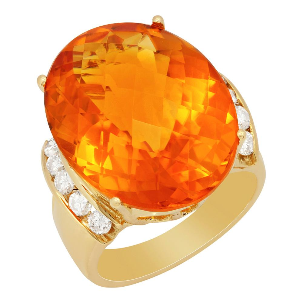 14k Yellow Gold 19.61ct Citrine 0.69ct Diamond Ring