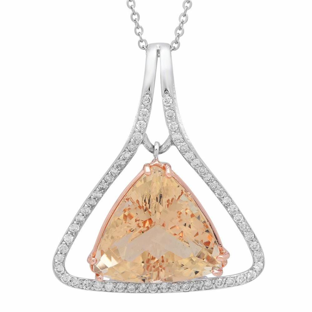 14K Gold 23.99ct Morganite 1.03ct Diamond Pendant