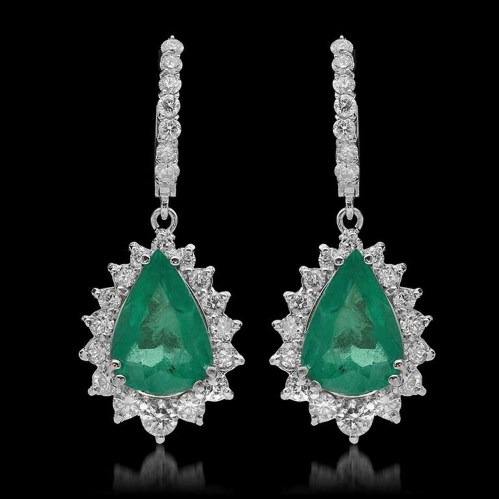 14K Gold 7.49ct Emerald & 2.57ct Diamond Earrings