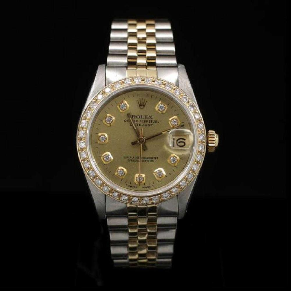 Rolex DateJust Two-Tone 31mm Custom Diamond Bezel Women's Wristwatch