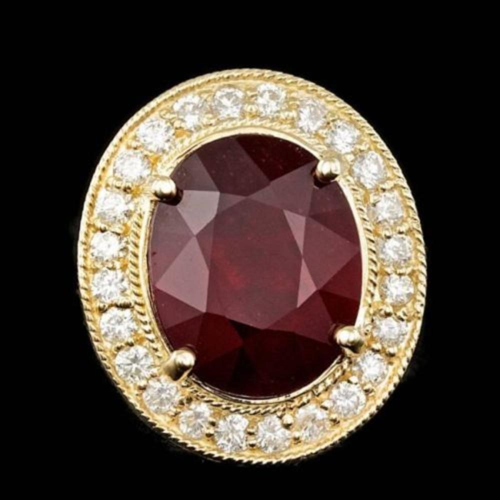 14K Yellow Gold 10.39ct Ruby and 0.92ct Diamond Ring