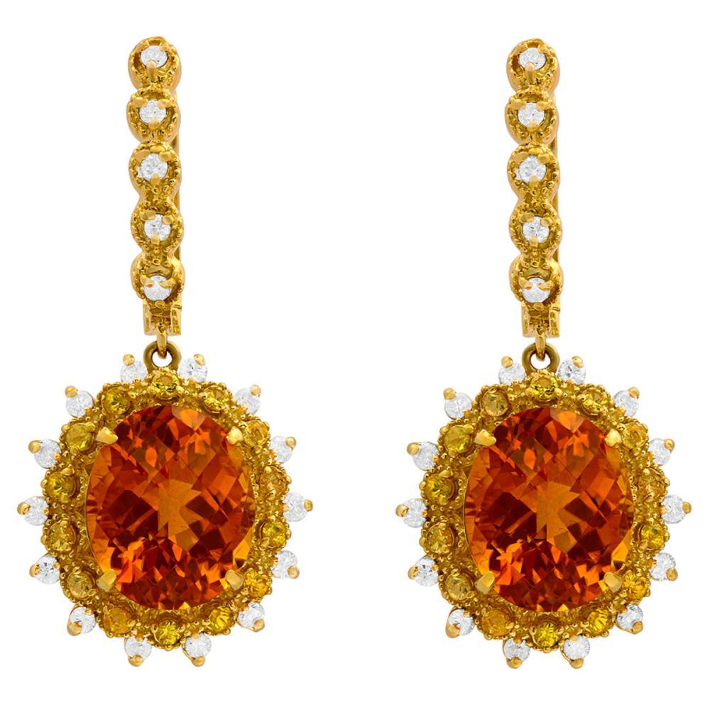 14k Yellow Gold 13.50 Citrine & 1.00ct Sapphire 1.02ct Diamond Earrings
