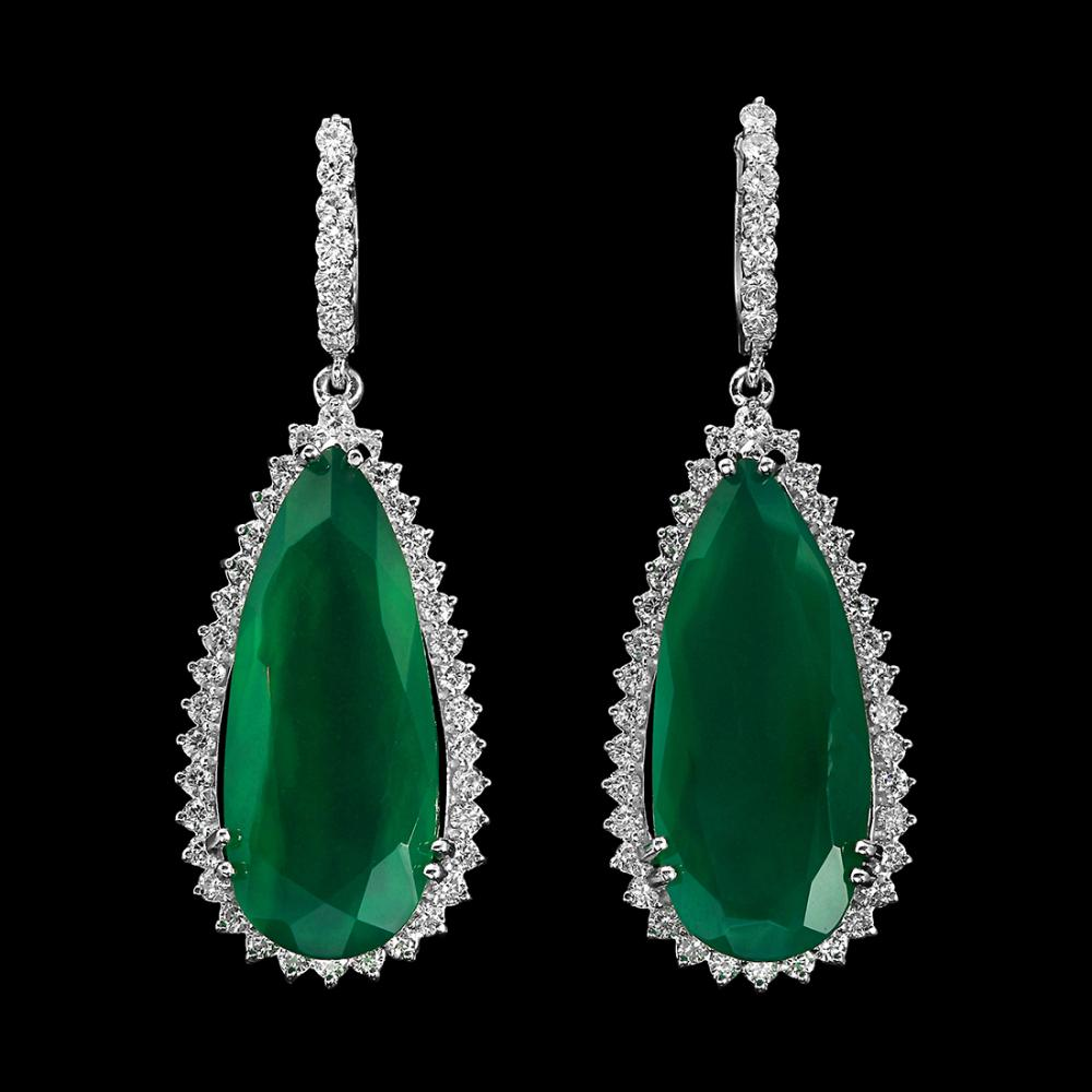 14K Gold 25.43ct Chrome Chalcedony 2.89ct Diamond Earrings