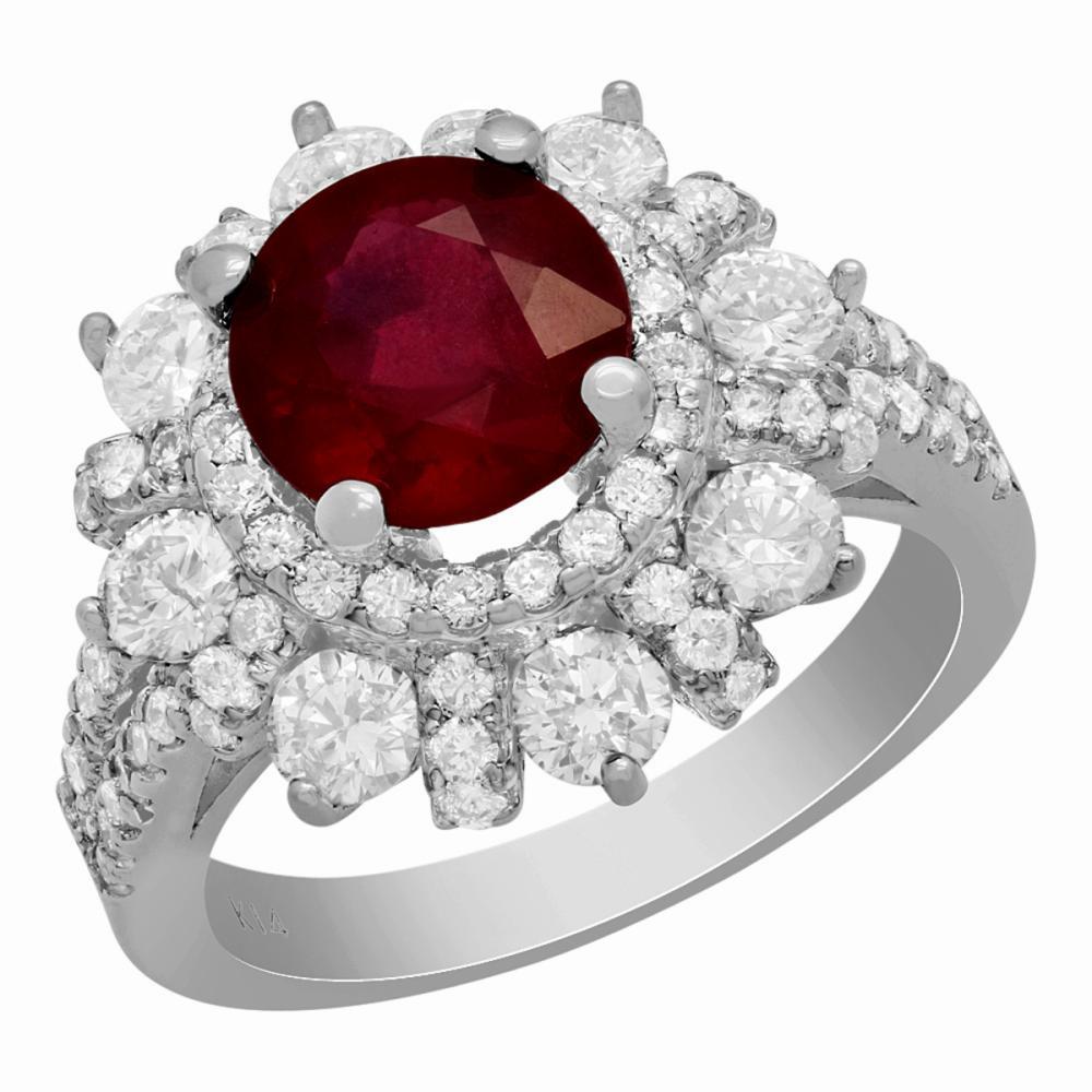 14k White Gold 2.49ct Ruby 2.52ct Diamond Ring
