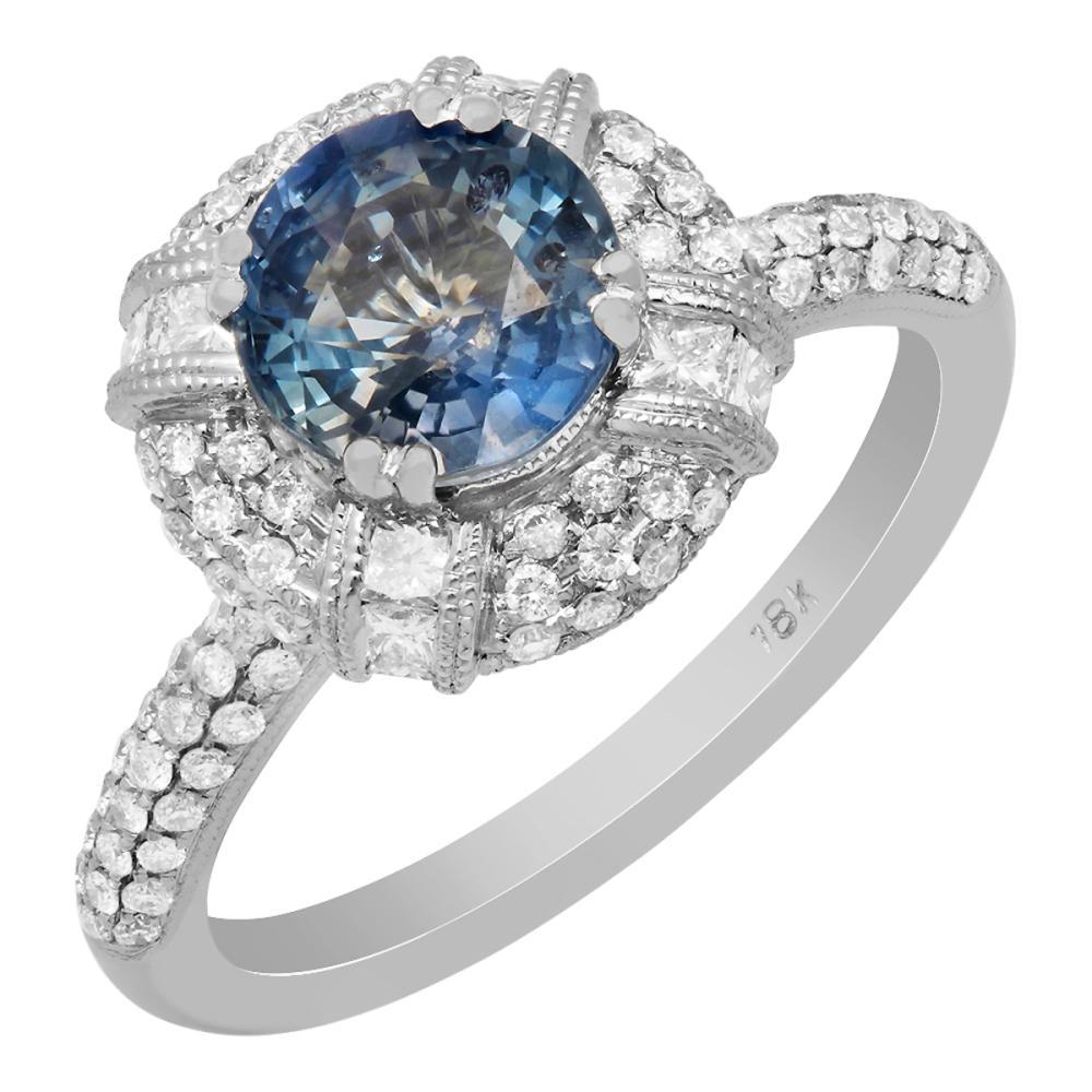 14k White Gold 1.75ct Sapphire 0.76ct Diamond Ring