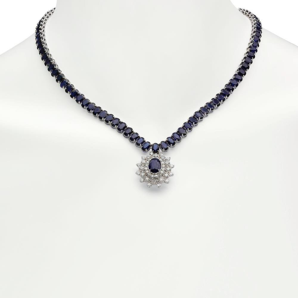 14K Gold 53.78ct Sapphire 2.71ct Diamond Necklace