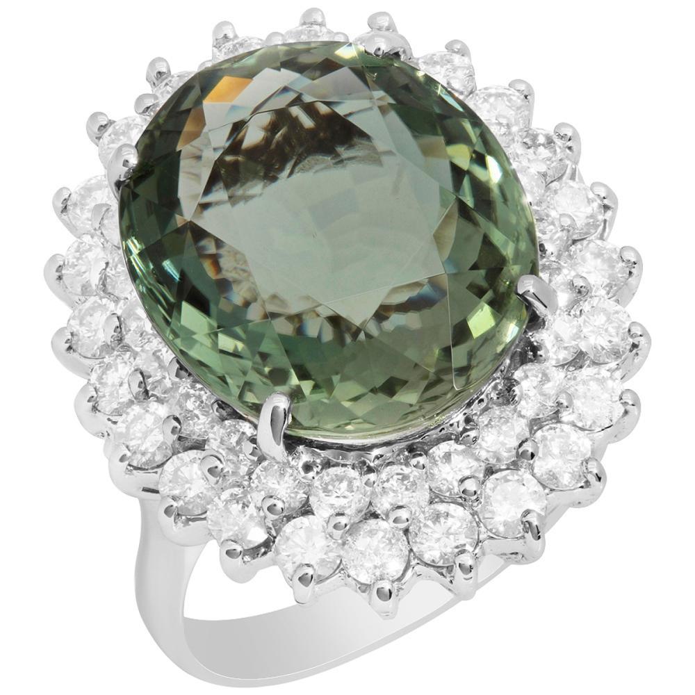 14k White Gold 11.11ct Green Tourmaline 2.11ct Diamond Ring