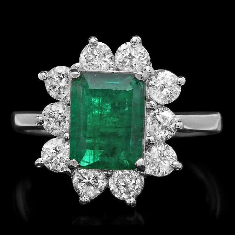 14K White Gold 2.32ct Emerald and 1.13ct Diamond Ring