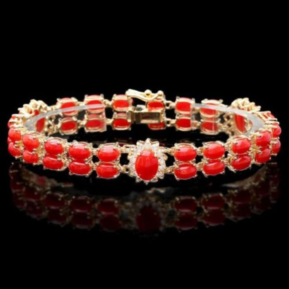 14K Gold 16.81ct Coral 1.14ct Diamond Bracelet