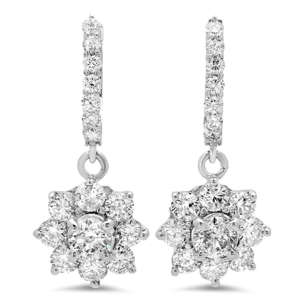 14K Gold 3.16cts Diamond Earrings