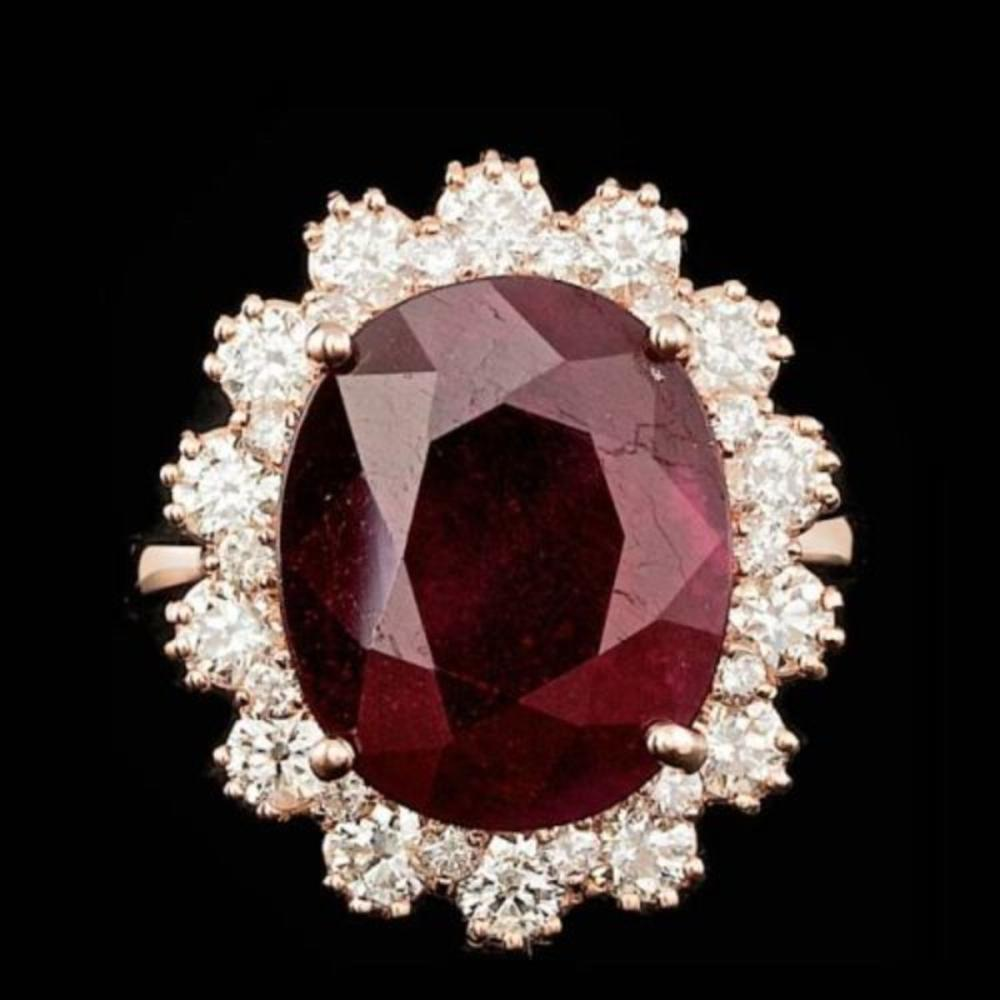14K Rose Gold 10.17ct Ruby and 1.50ct Diamond Ring
