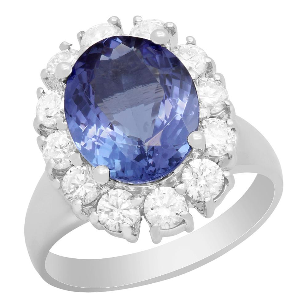 14k White Gold 3.87ct Tanzanite 1.39ct Diamond Ring