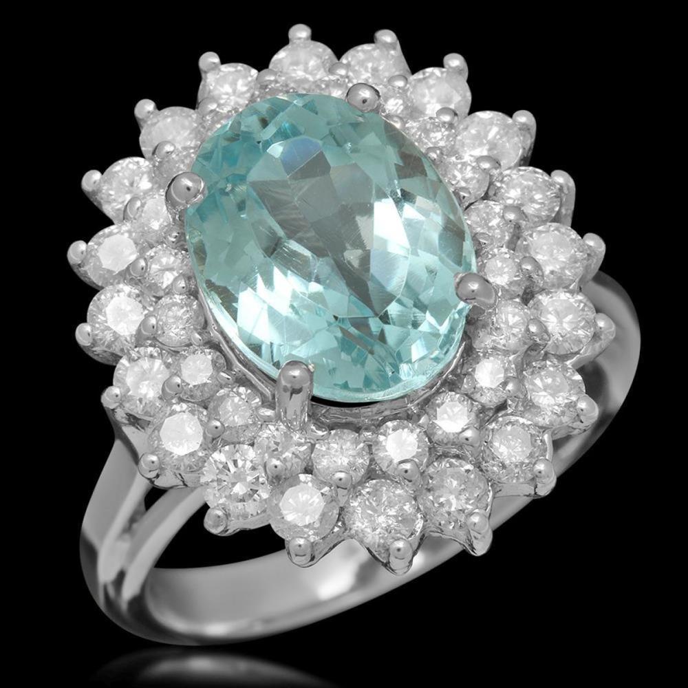 14K White Gold 5.29ct Aquamarine and 1.55ct Diamond Ring