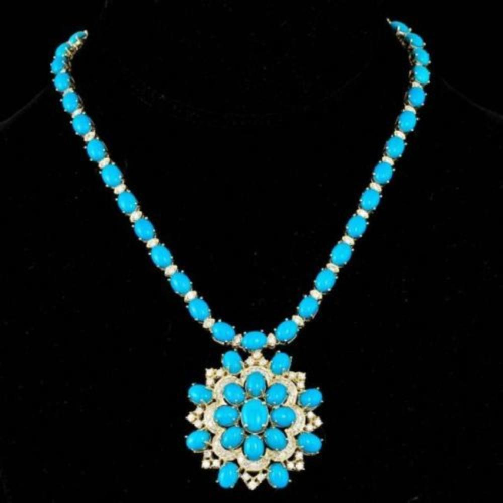 14K Yellow Gold 62.30ct Turquoise and 4.85ct Diamond Necklace