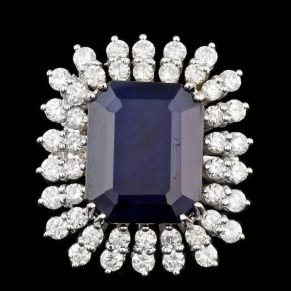 14K White Gold 13.69ct Sapphire and 2.44ct Diamond Ring