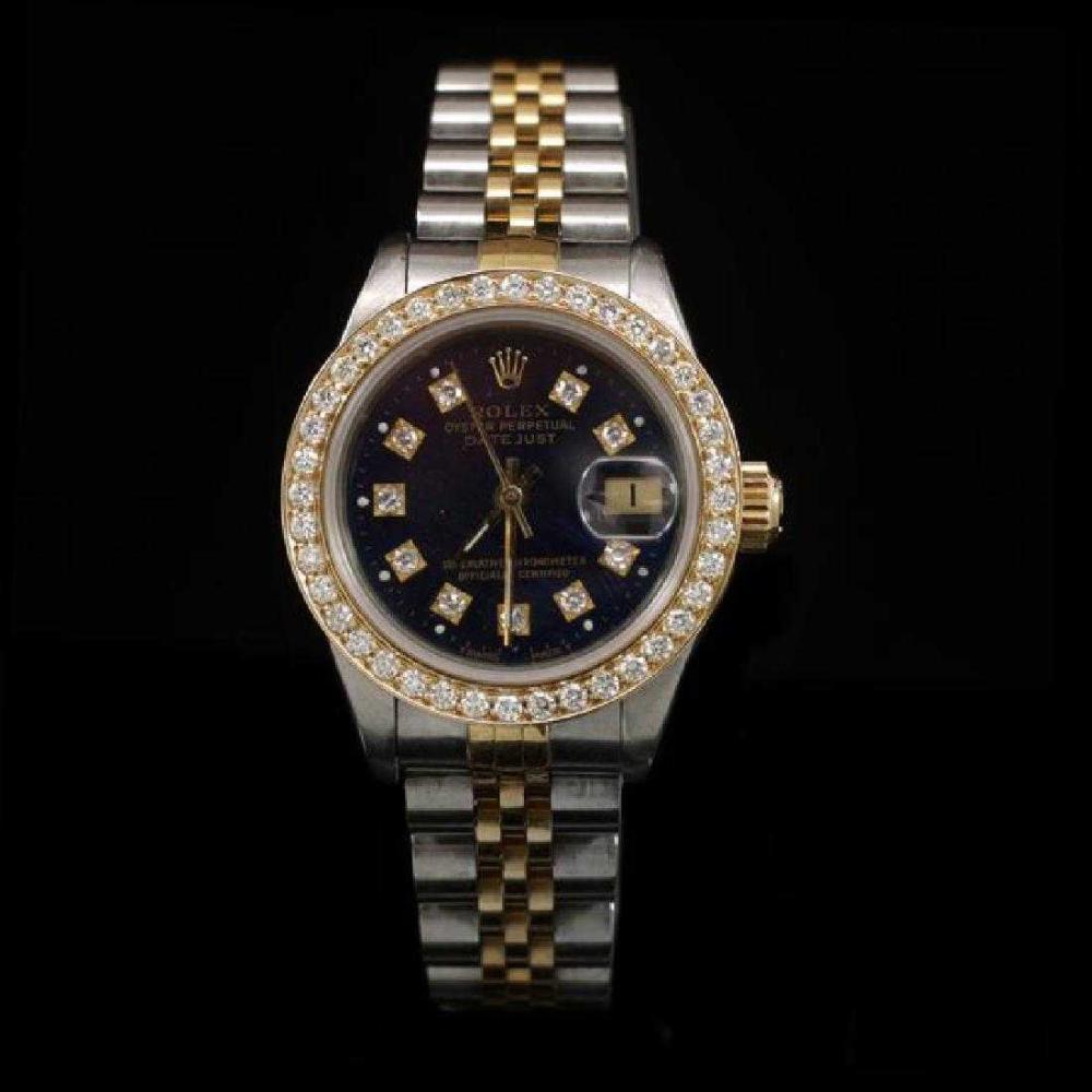 Rolex DateJust Two-Tone 26mm Custom Diamond Bezel Women's Wristwatch