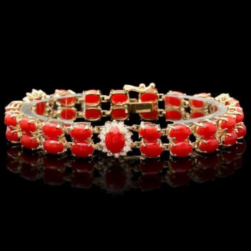 14K Gold 25.11ct Coral 1.34ct Diamond Bracelet