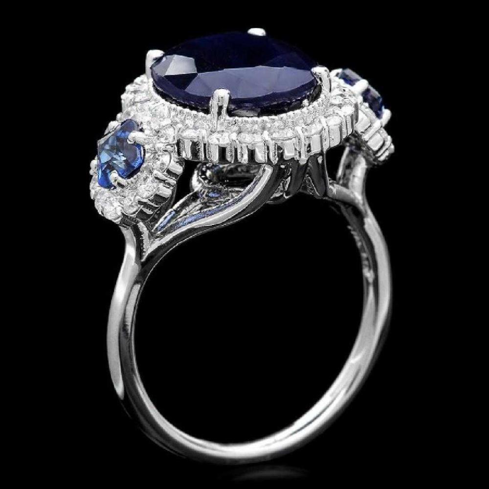 14K White Gold 6.28ct Sapphire and 0.86ct Diamond Ring