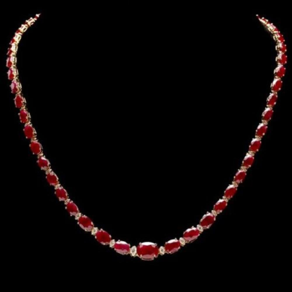 14K Yellow Gold 32.20ct Ruby and 1.35ct Diamond Necklace