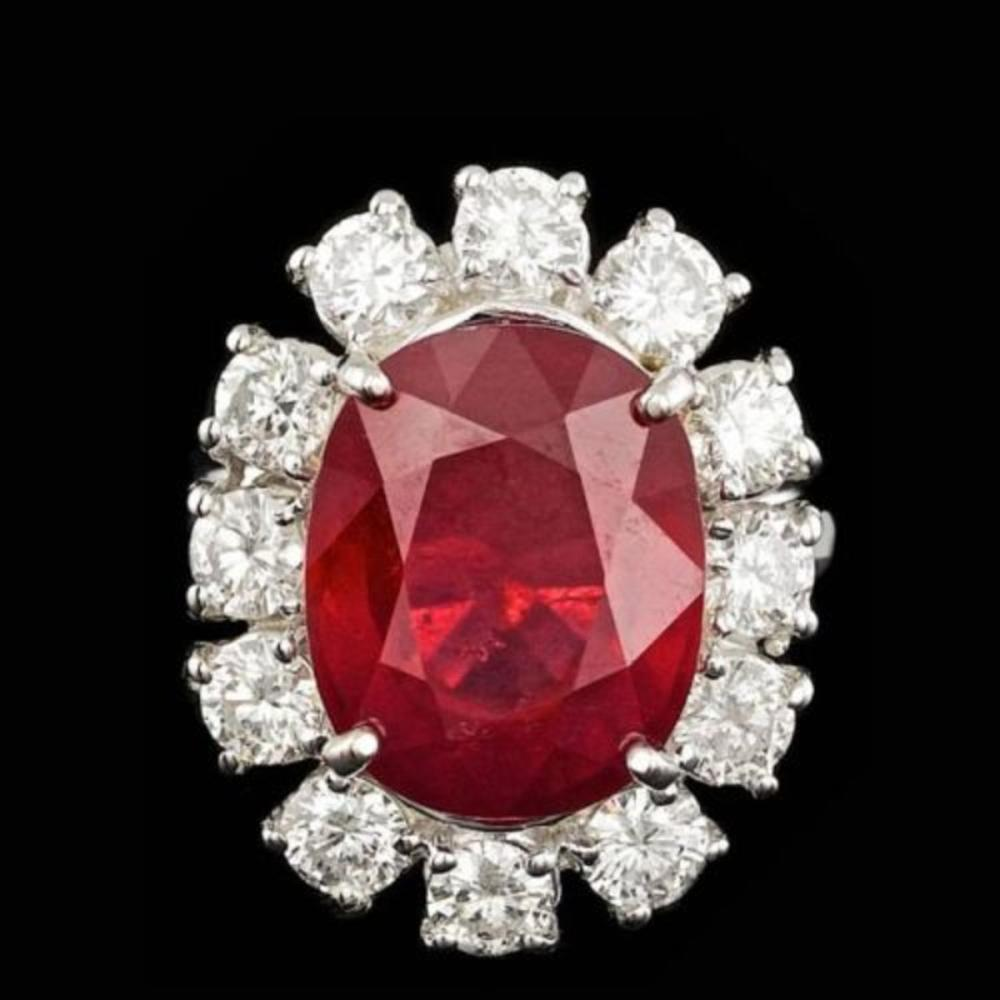14K White Gold 11.12ct Ruby and 2.13ct Diamond Ring