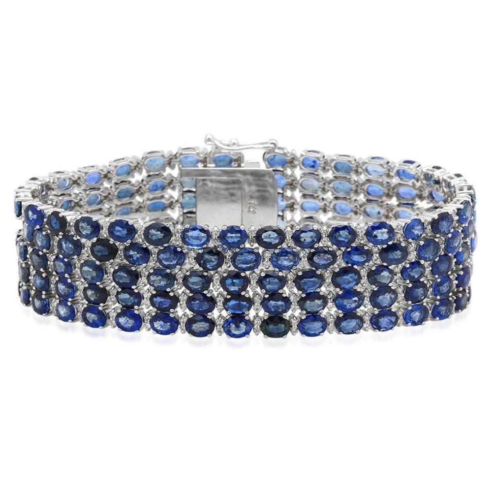 18K Gold 48.62ct Sapphire 4.06ct Diamond Bracelet