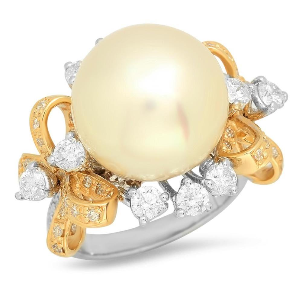 14K White and Yellow Gold 15mm South Sea Pearl and 2.4ct Diamond Ring