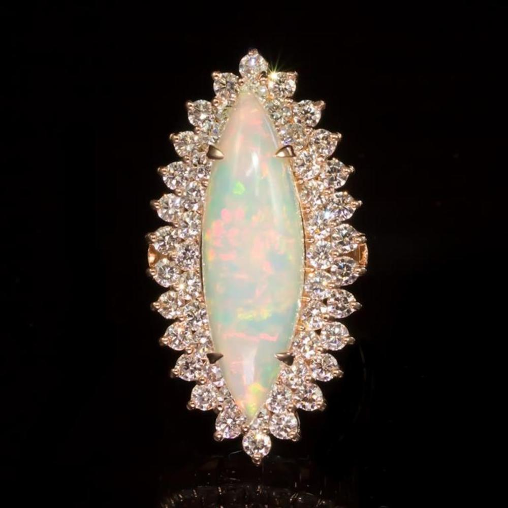 14K Rose Gold 5.51ct Opal and 2.79ct Diamond Ring