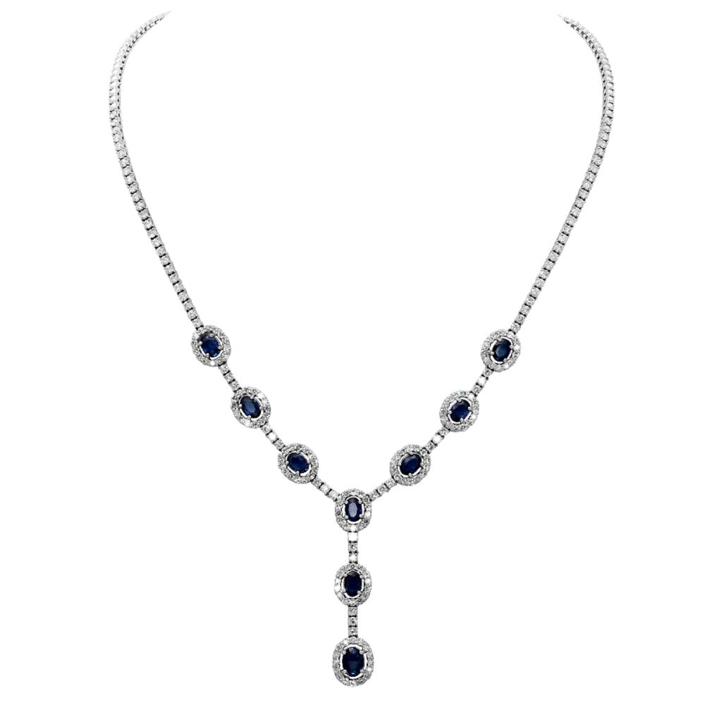 14k White Gold 5.16ct Sapphire 5.71ct Diamond Necklace