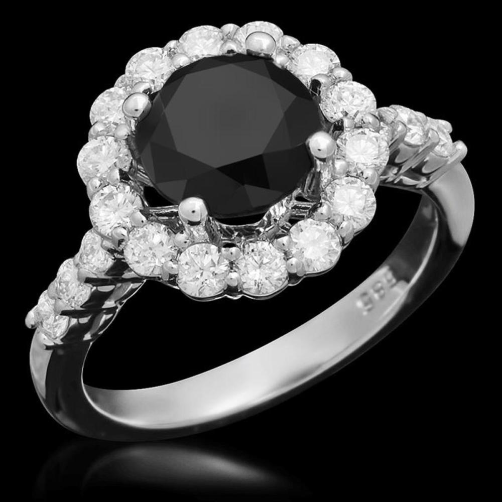 14K White Gold 2.16ct Fancy Diamond and 0.96ct Diamond Ring