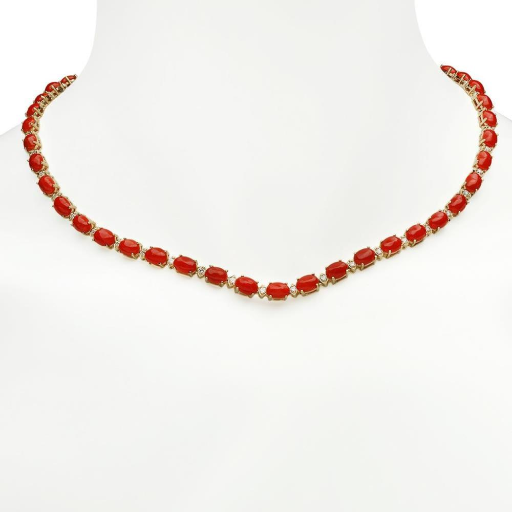 14K Gold 26.54ct Coral 1.81ct Diamond Necklace
