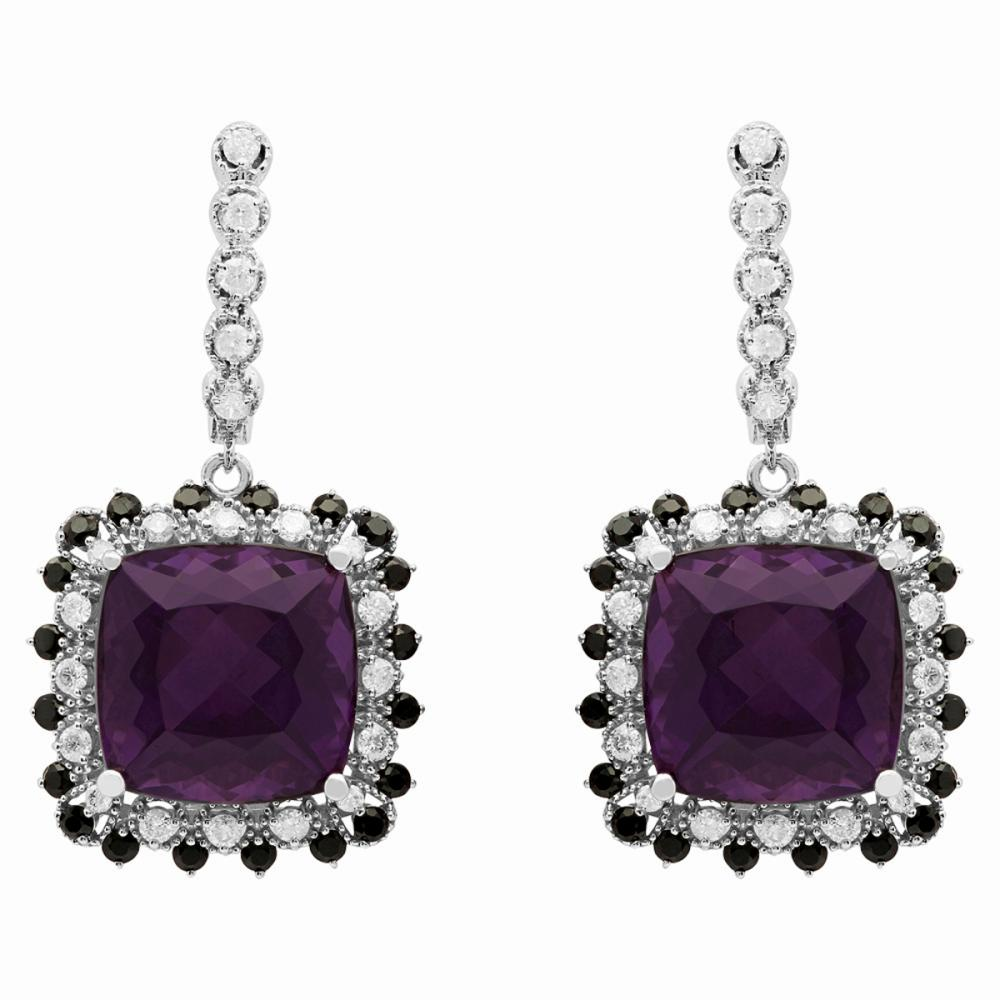14k White Gold 23.91ct Amethyst & 1.68ct Sapphire 1.15ct Diamond Earrings