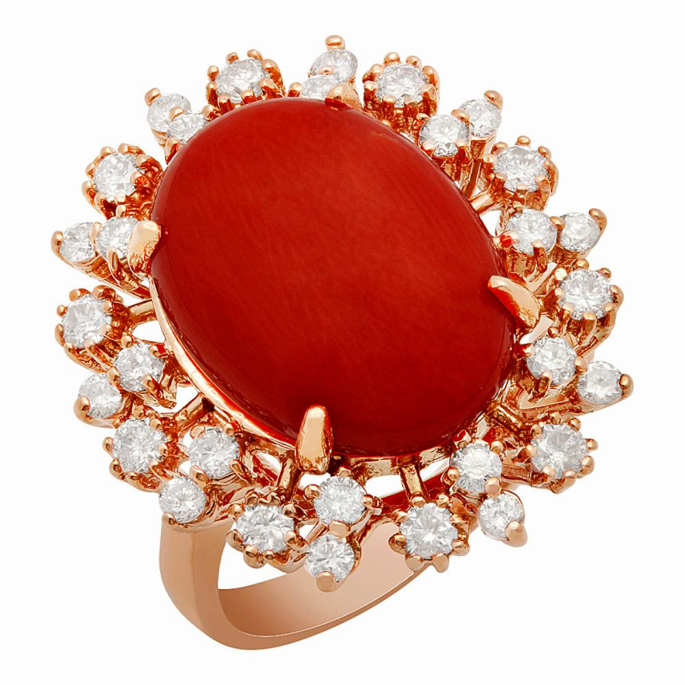 14K Gold 7.58ct Coral 1.01ct Diamond Ring